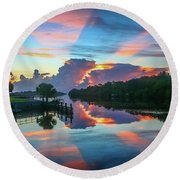 Striped Sunrise Round Beach Towel