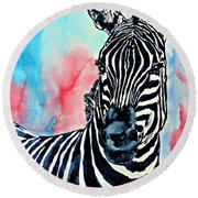 Stripes And A Mohawk Round Beach Towel