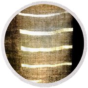 Stripes And Texture Round Beach Towel
