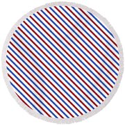 Stripes Diagonal Carmine Red Cobalt Blue Simple Modern Round Beach Towel