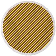 Stripes Diagonal Chocolate Banana Yellow Toffee Cream Round Beach Towel