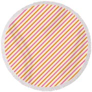 Stripes Diagonal Orange Pink Peach Simple Modern Round Beach Towel