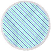 Stripes Diagonal Turquoise Blue Summer Simple Modern Round Beach Towel