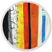 Stripes Round Beach Towel by Elena Nosyreva