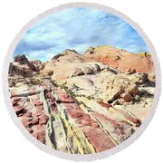 Stripes Of Valley Of Fire Round Beach Towel