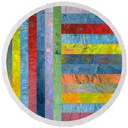 Stripes With Blue And Red Round Beach Towel by Michelle Calkins
