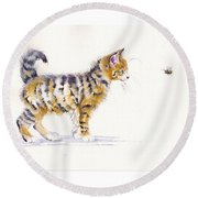 Stripey Creatures Round Beach Towel