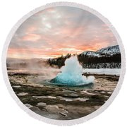 Strokkur Winter Blowup In Front Of Sunset Round Beach Towel