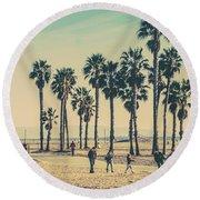 Stroll Down Venice Beach Round Beach Towel