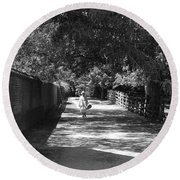 Round Beach Towel featuring the photograph Stroll To Store by Eric Liller