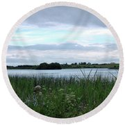 Round Beach Towel featuring the photograph Strolling By The Lake by Terence Davis