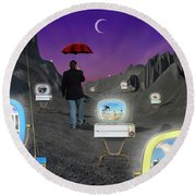 Round Beach Towel featuring the photograph Strolling Down Memory Lane by Mike McGlothlen