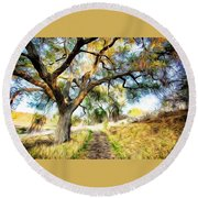 Strolling Down The Path Round Beach Towel