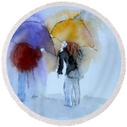 Strolling In The Rain Round Beach Towel by Vicki  Housel