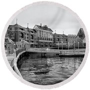 Strolling On The Boardwalk In Black And White Walt Disney World Mp Round Beach Towel
