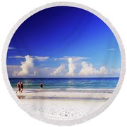 Round Beach Towel featuring the photograph Strolling The Beach by Gary Wonning