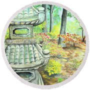 Strolling Through The Japanese Garden Round Beach Towel