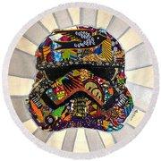 Strom Trooper Afrofuturist  Round Beach Towel