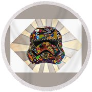 Round Beach Towel featuring the tapestry - textile Strom Trooper Afrofuturist  by Apanaki Temitayo M