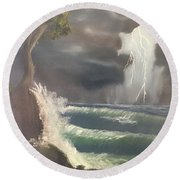 Strong Against The Storm Round Beach Towel