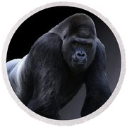 Strong Male Gorilla Round Beach Towel
