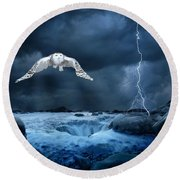 Stronger Than The Storm Round Beach Towel by Heather King