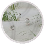 Struggle In The Blowing Sand Round Beach Towel