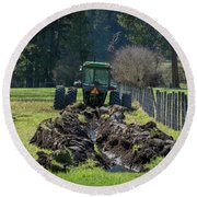 Stuck In The Muck Agriculture Art By Kaylyn Franks Round Beach Towel