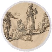 Studies For Standing And Seated Figures Round Beach Towel