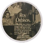 Studio B Roy Orbison  Round Beach Towel