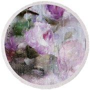 Studio313 Roses And Rain Round Beach Towel by Michele Carter