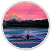Study For A Sunset In A Foreign Land Round Beach Towel
