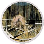 Study For Crouching Nude Round Beach Towel