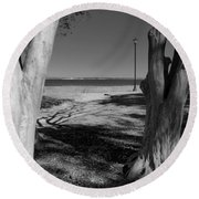 Study In Black And White Round Beach Towel
