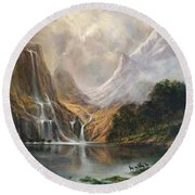 Round Beach Towel featuring the painting Study In Nature by Donna Tucker
