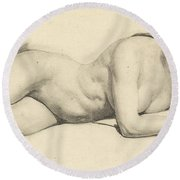 Study Of A Female Nude Reading Round Beach Towel