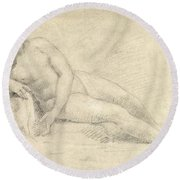 Study Of A Female Nude  Round Beach Towel
