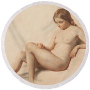 Study Of A Nude Round Beach Towel by William Mulready