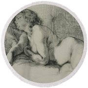 Study Of A Reclining Female Nude Round Beach Towel