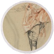 Study Of A Standing Dancer With An Outstretched Arm Round Beach Towel