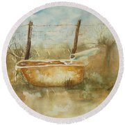 Study Of A Watering Tub Round Beach Towel by Vicki  Housel