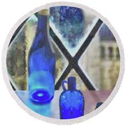 Study Of Light On Cobalt Bottles Round Beach Towel by Janette Boyd
