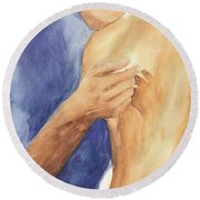 Round Beach Towel featuring the painting Study Of Lovers  by Vicki  Housel