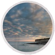 Stunning Colorful Dramatic Summer Sunset Over Seven Sisters Land Round Beach Towel