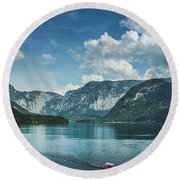 Stunning Lake Hallstatt Panorama Round Beach Towel