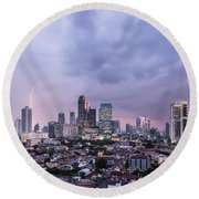 Stunning Sunset Over Jakarta, Indonesia Capital City Round Beach Towel