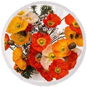 Stunning Vibrant Yellow Orange Poppies  Round Beach Towel