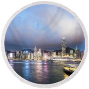 Stunning View Of Hong Kong Island At Night.  Round Beach Towel