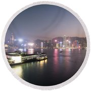 Stunning View Of The Twilight Over The Victoria Harbor And Star  Round Beach Towel