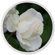 Stunning White Tineke Rose Round Beach Towel